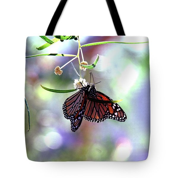 Tote Bag featuring the photograph Butterfly Meet-up by Tam Ryan