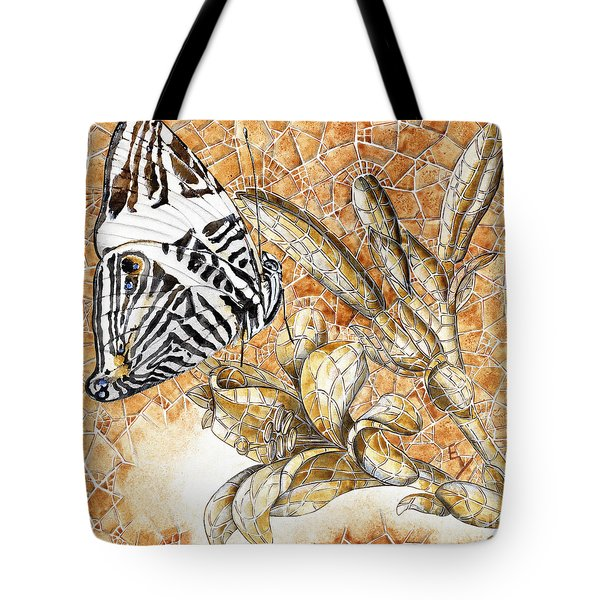 Tote Bag featuring the painting Butterfly Mosaic 02 Elena Yakubovich by Elena Yakubovich