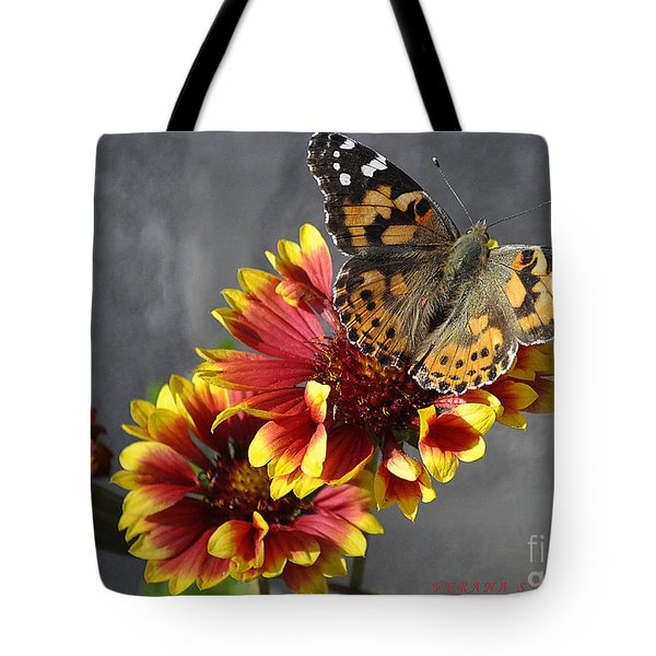 Tote Bag featuring the photograph Butterfly On A Gaillardia by Verana Stark