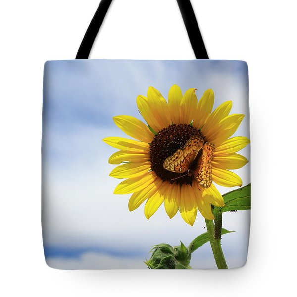 Butterfly On A Sunflower Tote Bag