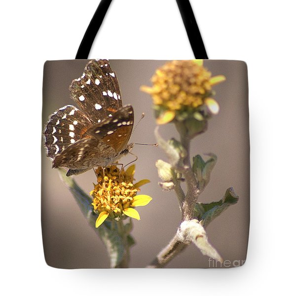 Tote Bag featuring the digital art Butterfly On Marigold 1 by John  Kolenberg