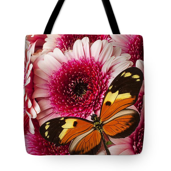 Butterfly On Pink Mum Tote Bag by Garry Gay