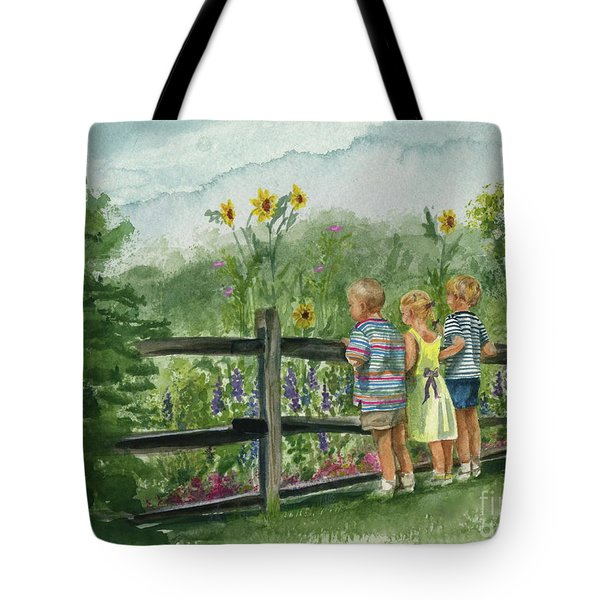 Tote Bag featuring the painting By The Garden Fence  by Nancy Patterson