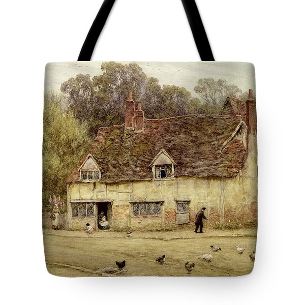 By The Old Cottage Tote Bag by Helen Allingham