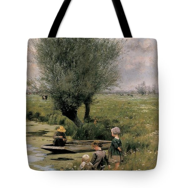 By The Riverside Tote Bag by Emile Claus