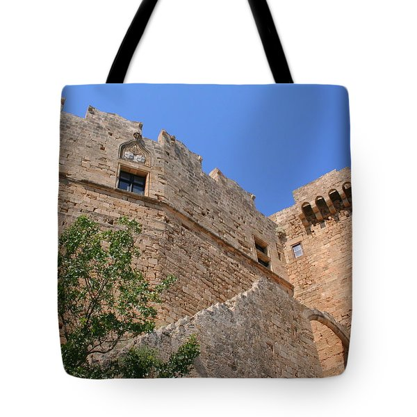 Byzantine Fortress At Lindos Tote Bag by Laurel Talabere
