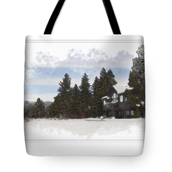 Cabin In Snow With Mountains In Background Tote Bag