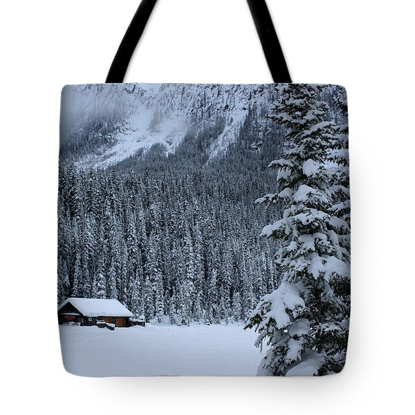 Tote Bag featuring the photograph Cabin In The Snow by Alyce Taylor