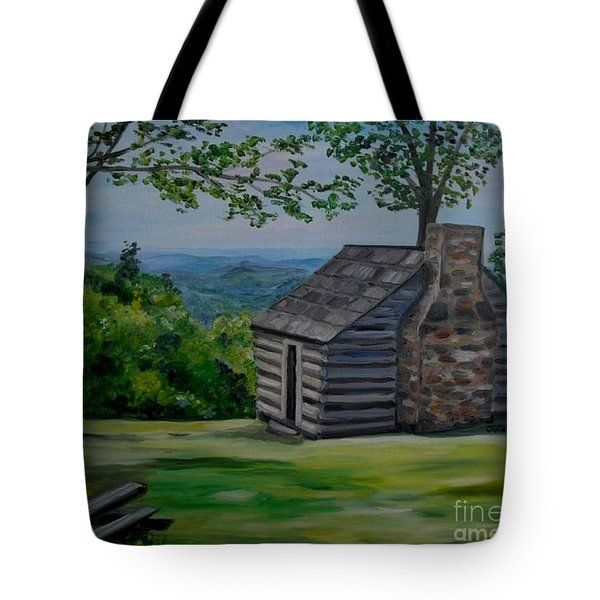 Tote Bag featuring the painting Cabin On The Blue Ridge Parkway In Va by Julie Brugh Riffey