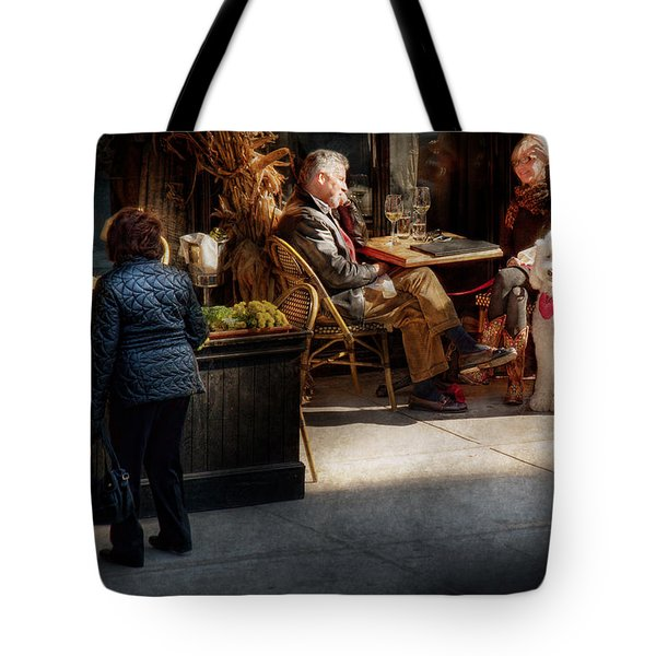 Cafe - Ny - High Line - Waiter I Would Like To Order  Tote Bag by Mike Savad