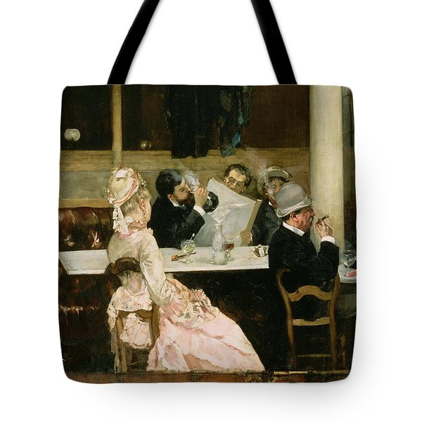 Cafe Scene In Paris Tote Bag by Henri Gervex