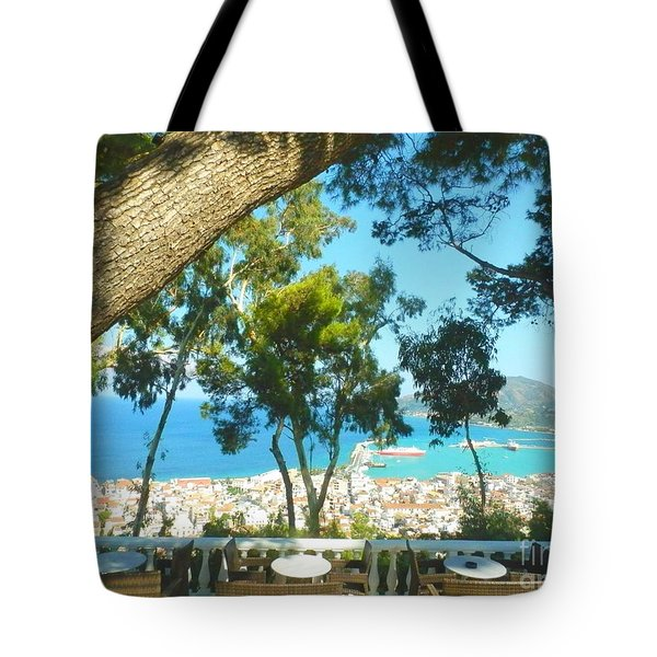 Cafe Terrace At Bohali Overlooking Zante Town Tote Bag by Ana Maria Edulescu