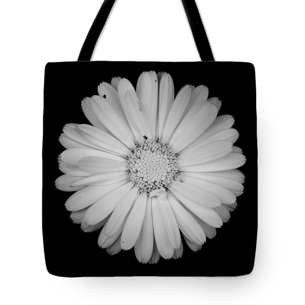 Tote Bag featuring the photograph Calendula Flower - Black And White by Laura Melis
