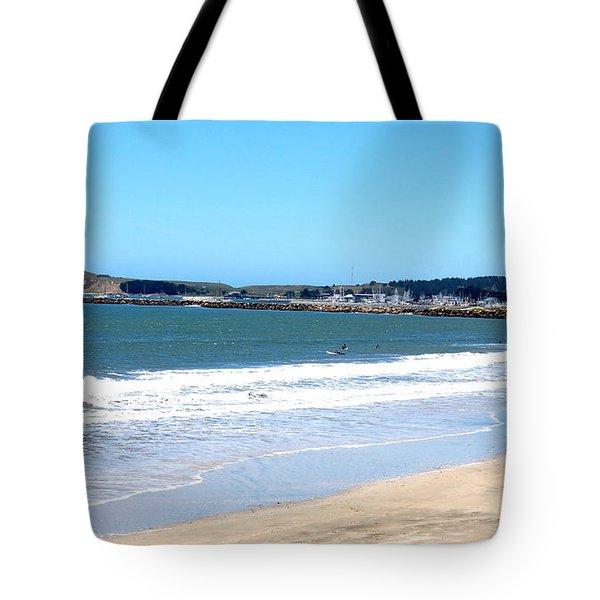California Beach At El Granada Tote Bag by Carolyn Donnell