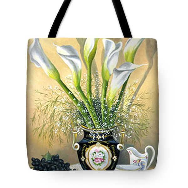 Callalillies With China And Grapes Tote Bag