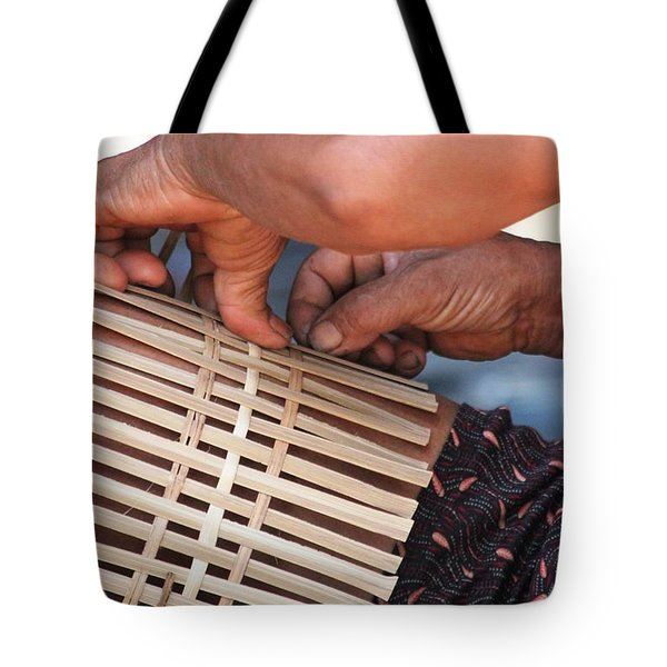 Tote Bag featuring the photograph Cambodian Basket Weaver by Nola Lee Kelsey