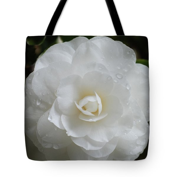 Camellia After Rain Storm Tote Bag