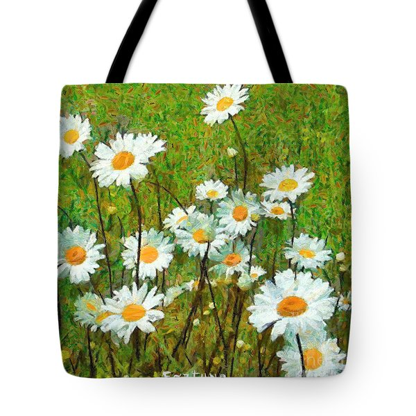 Tote Bag featuring the painting Camomiles Field by Dragica  Micki Fortuna