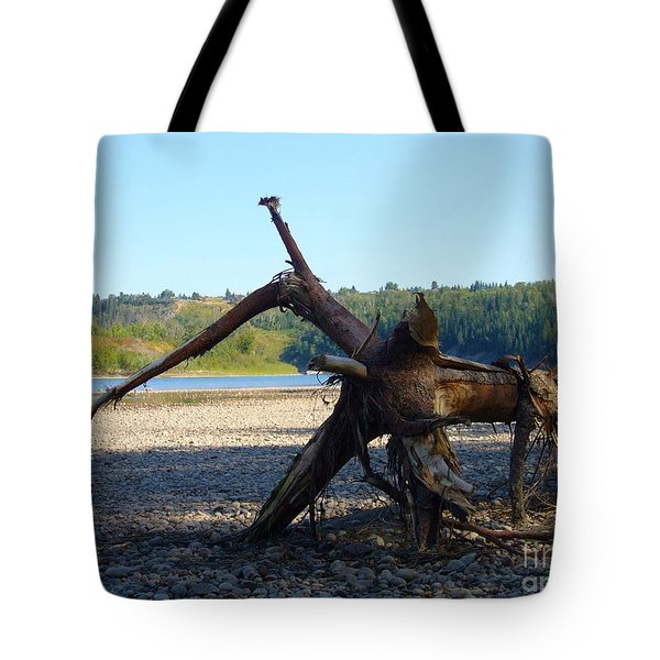 Tote Bag featuring the photograph Canadian Driftwood by Jim Sauchyn
