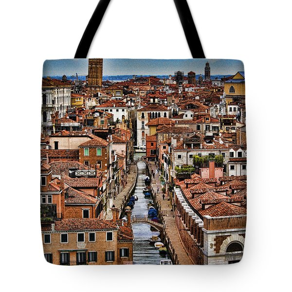 Canal And Bridges In Venice Italy Tote Bag by David Smith
