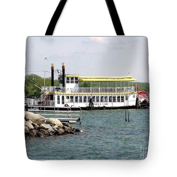 Canandaigua Lady Paddleboat Tote Bag by Rose Santuci-Sofranko