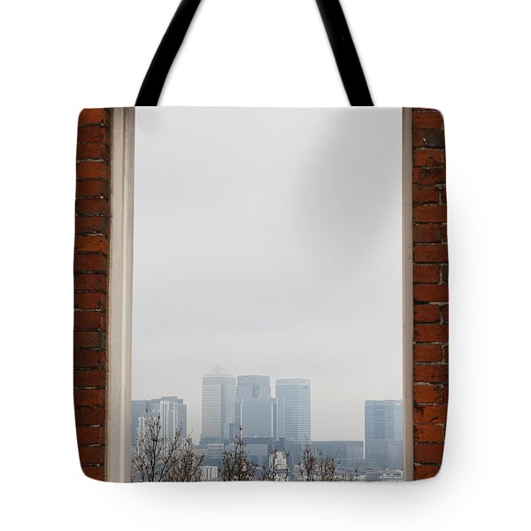 Tote Bag featuring the photograph Canary Wharf View by Maj Seda