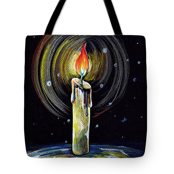 Tote Bag featuring the drawing Candel On The Water  by Nada Meeks