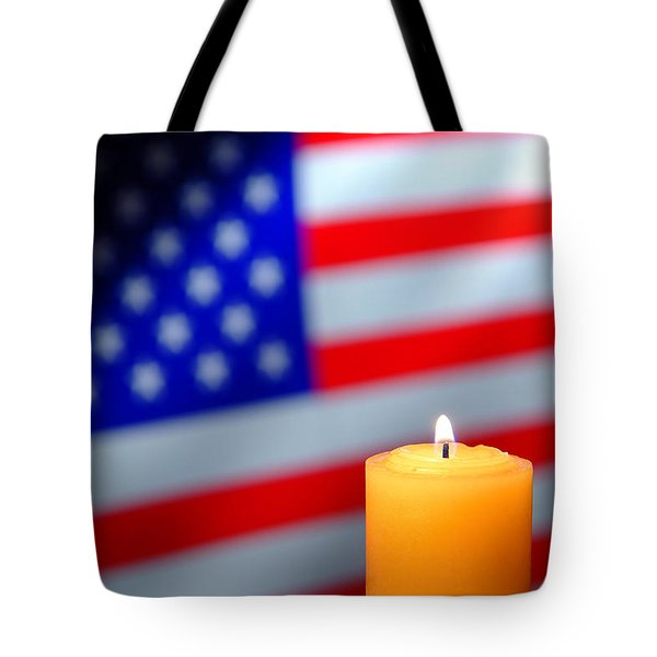 Candle And American Flag Tote Bag