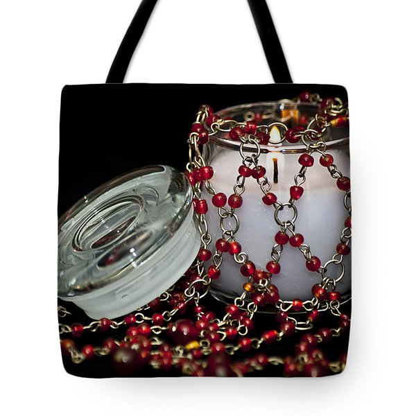 Candle And Beads Tote Bag by Carolyn Marshall