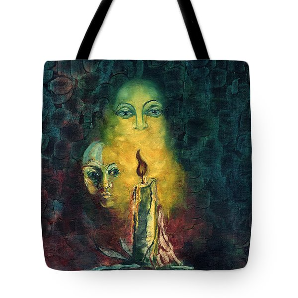 Candle Light Mother Child Faces In Yellow Candle Light Blue Red Background  Tote Bag by Rachel Hershkovitz
