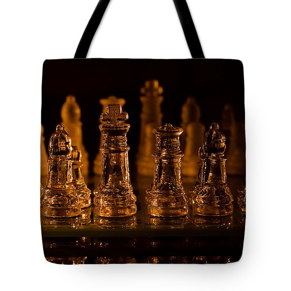 Candle Lit Chess Men Tote Bag