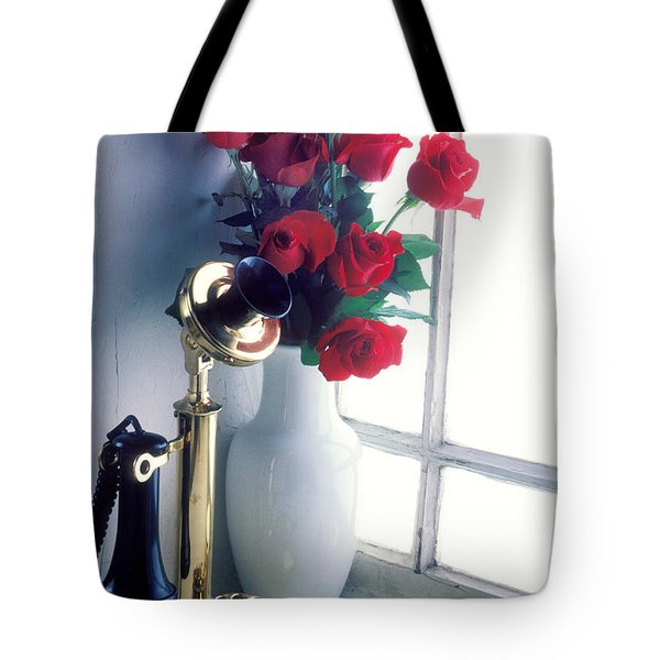 Candlestick Phone In Window Tote Bag by Garry Gay