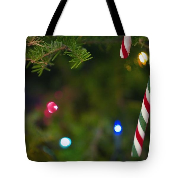 Candy Cane On Tree Tote Bag by Carson Ganci