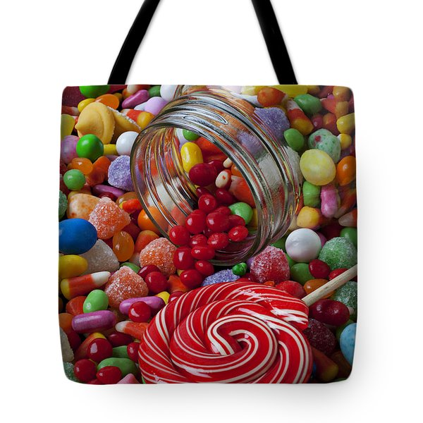 Candy Jar Spilling Candy Tote Bag by Garry Gay