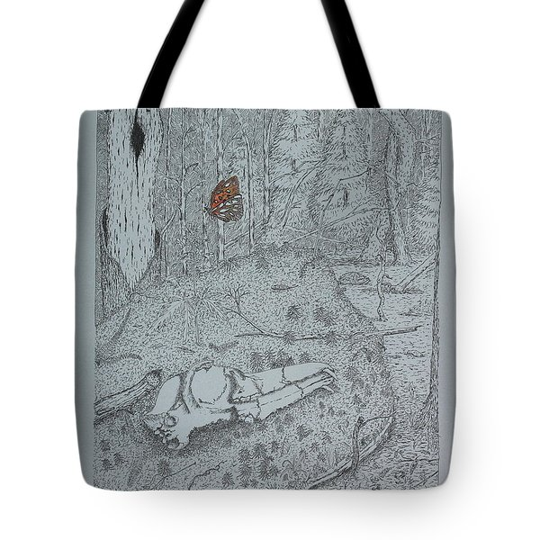 Canine Skull And Butterfly Tote Bag