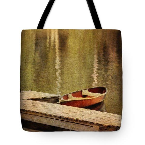 Canoe At Dock Tote Bag by Jill Battaglia
