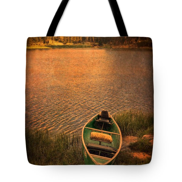 Canoe On Lake Tote Bag by Jill Battaglia