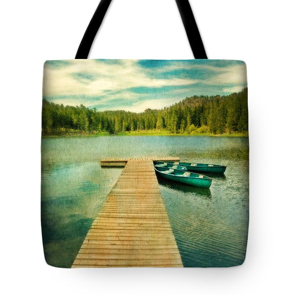 Canoes At The End Of The Dock Tote Bag by Jill Battaglia
