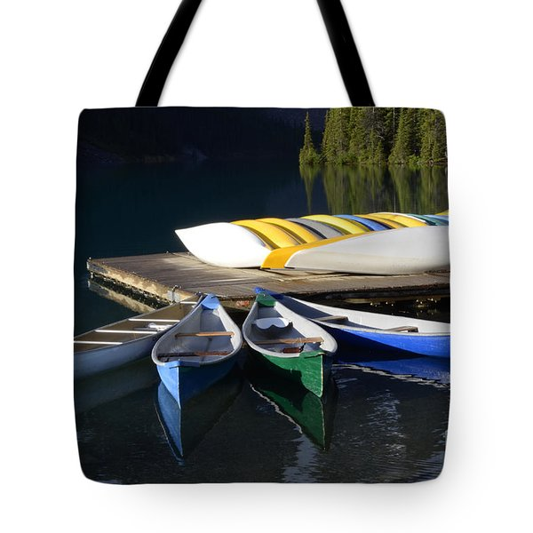 Canoes Morraine Lake 2 Tote Bag by Bob Christopher