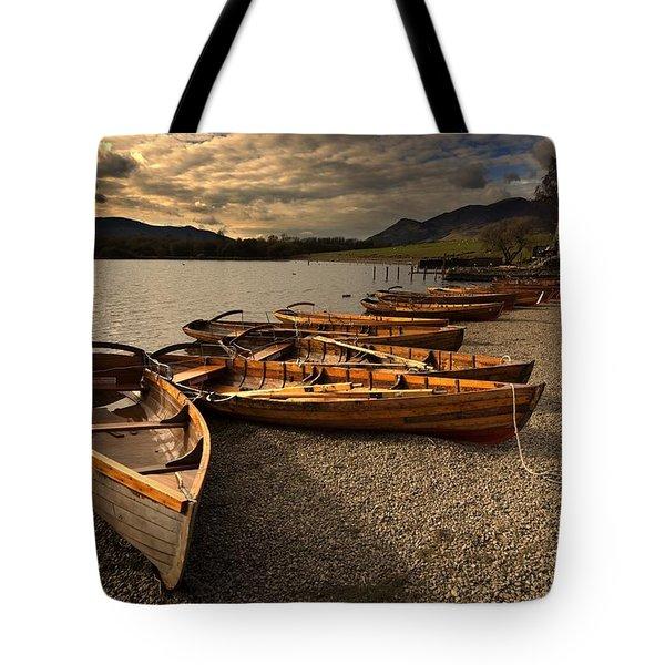 Canoes On The Shore, Keswick, Cumbria Tote Bag by John Short