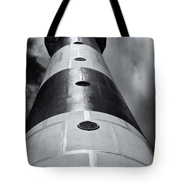 Cape Canaveral Lighthouse Black And White Tote Bag by Roger Wedegis