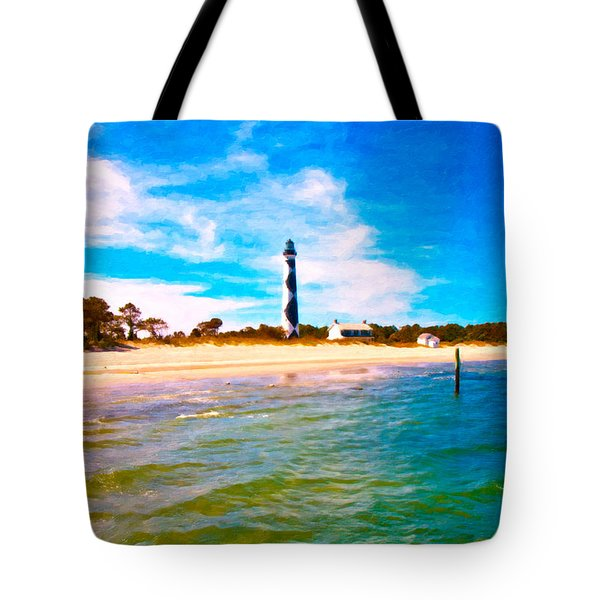 Cape Lookout Shore And Lighthouse Tote Bag by Betsy Knapp