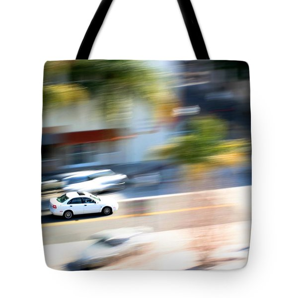 Car In Motion Tote Bag