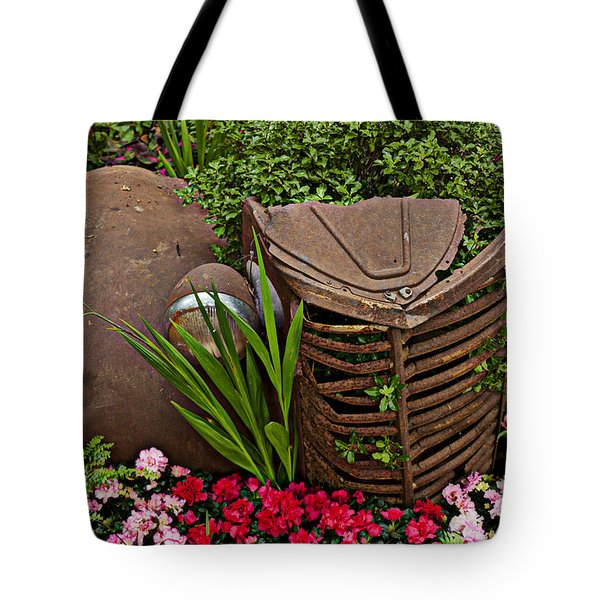 Car In The Garden Tote Bag by Garry Gay