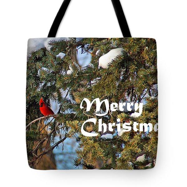 Cardinal Christmas Card Tote Bag by Aimee L Maher Photography and Art Visit ALMGallerydotcom