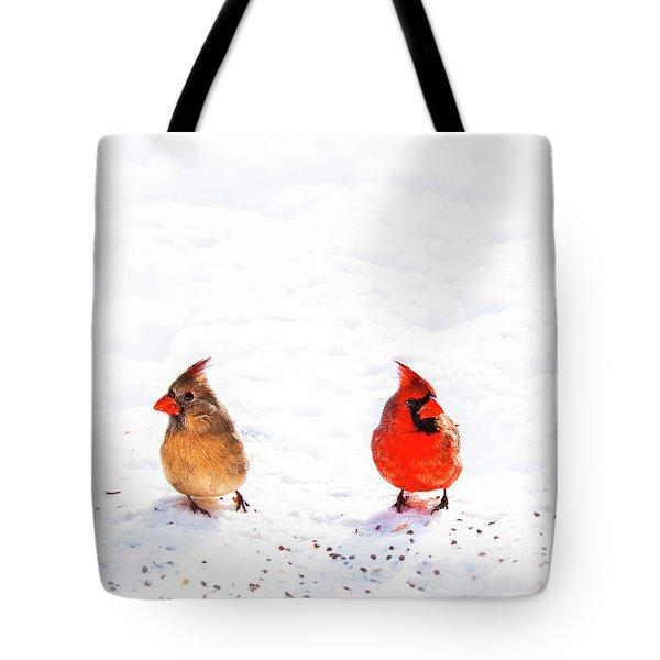 Cardinal Couple II Tote Bag by Tamyra Ayles