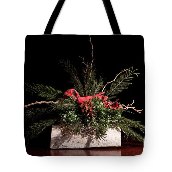 Cardinal In Winter Tote Bag by Dinah Anaya