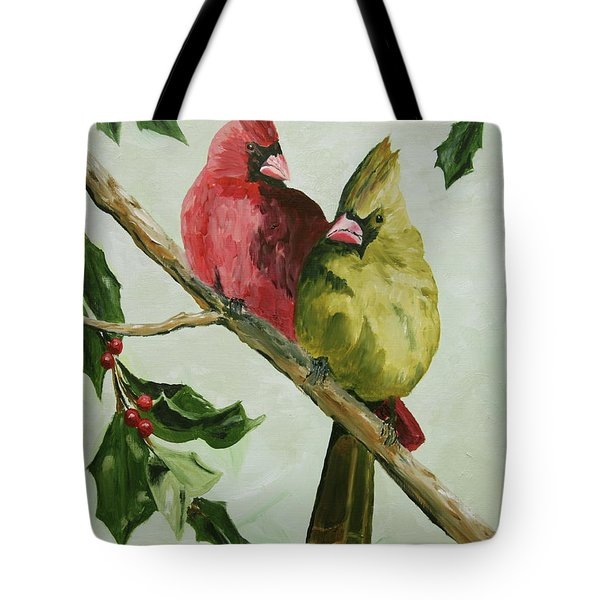Cardinals With Holly Tote Bag