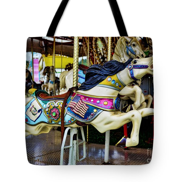 Carousel - Horse - Jumping Tote Bag by Paul Ward