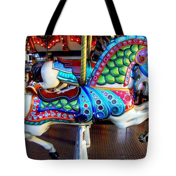 Carousel Horse With Sea Motif Tote Bag
